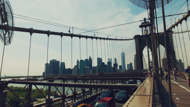 Cars and people on the Brooklyn bridge video