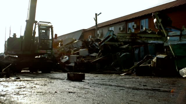 Cars for recycling. Drop frop cranes video