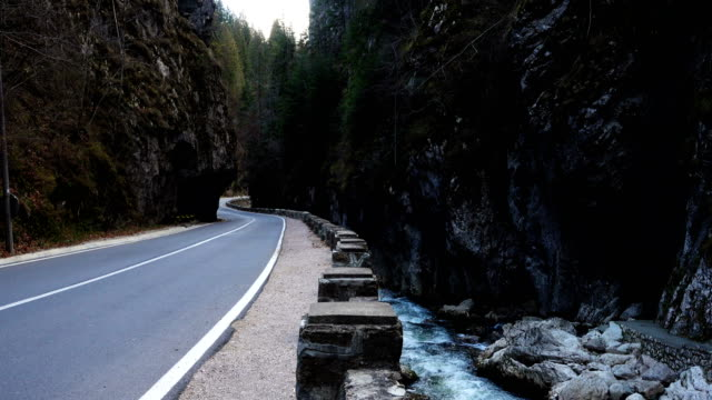 cars on a road at the famous romanian canyon Cheile Bicazului video