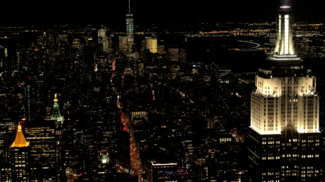 AERIAL: Cars on busy 5th avenue during the night driving to Downtown Manhattan video