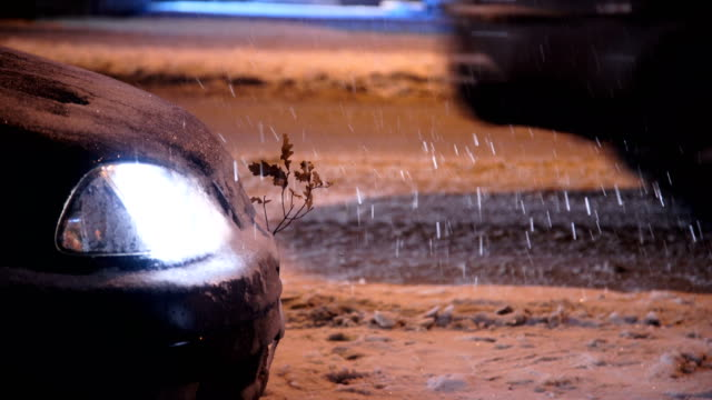 cars on the road snow frosty winter night cars on the road snow frosty winter night plow stock videos & royalty-free footage