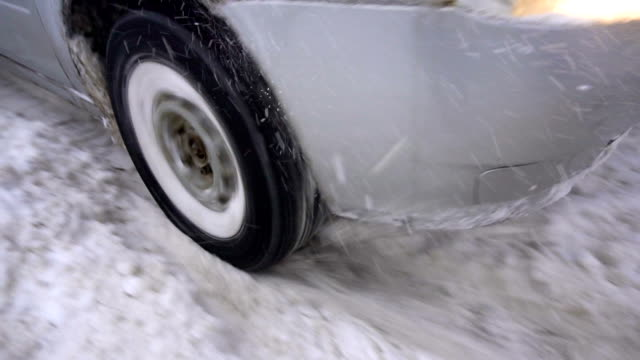 car's wheel being stuck in snow, and spinning video