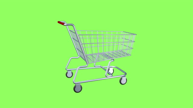 Cart for shopping at the store and supermarket. Seamless looping animation on a green isolated screen background. Cart for shopping at the store and supermarket. Seamless looping animation on a green isolated screen background. shopping cart stock videos & royalty-free footage