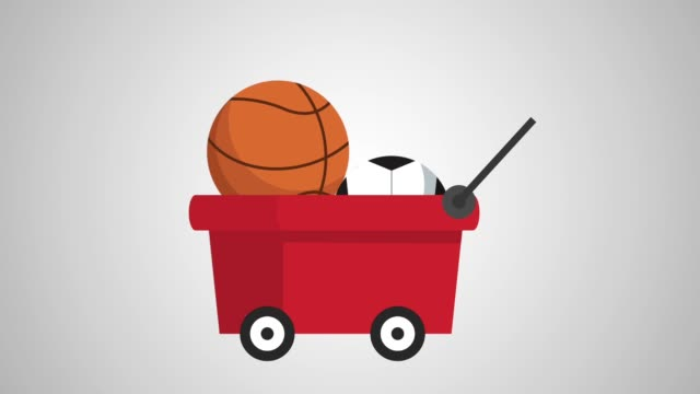 cart with balloons sports animation video