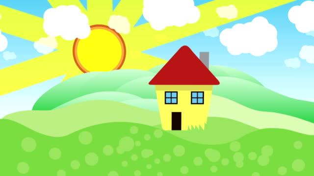 stockvideo's en b-roll-footage met cartoon 2d animatie van een huis op zonnige en regenachtige dag. naadloze loops. animatie - regen zon