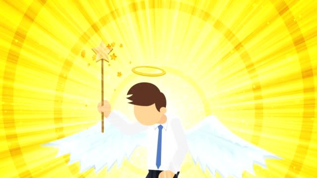 Cartoon angel flying in heaven. Happy. Business costume. Cosplay. Loop flat design.