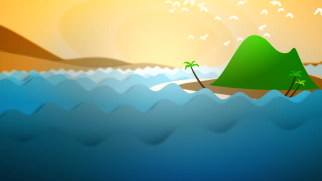 Cartoon Animated Ocean Waves and Island at Sunset with Birds