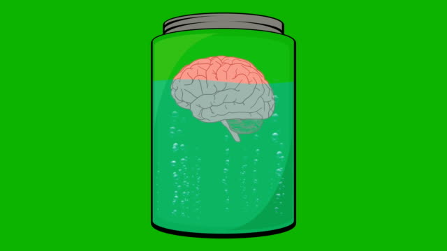 Cartoon Animation of a Brain Floating in a Jar video