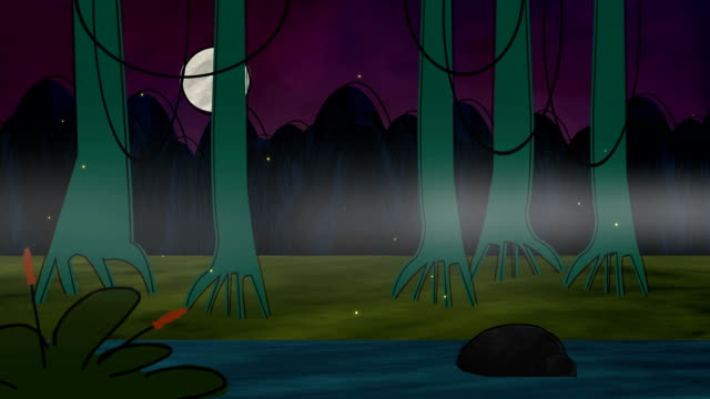 Cartoon animation of a swamp video