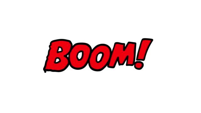 vídeos de stock, filmes e b-roll de animação dos desenhos animados da palavra boom!  com canal fosco em estilo de quadrinhos - músico pop