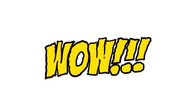 만화 애니메이션의 단어 와우!  만화 스타일의 매트 채널 - 장엄한 스톡 비디오 및 b-롤 화면