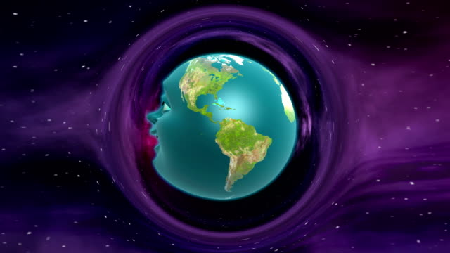Cartoon anthropomorphic Earth in curved space video