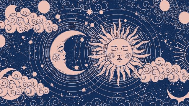 vídeos de stock, filmes e b-roll de fundo de desenho animado para astrologia, tarô, magia e esoterismo. renderização de vídeo 4k suave. animação de uma lua crescente com um rosto, estrelas, fundo celestial. - boho