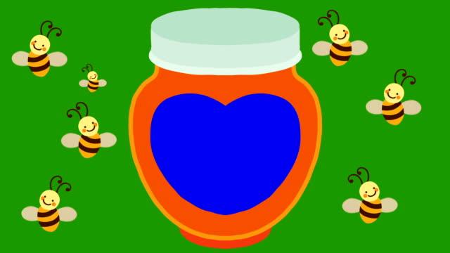 Cartoon-Bienen fliegen um ein Glas Honig mit einem blauen Etikett auf einem Green-Screen-Hintergrund – Video