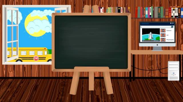 vídeos y material grabado en eventos de stock de pizarra de dibujos animados en un aula de niños con un autobús escolar - autobuses escolares