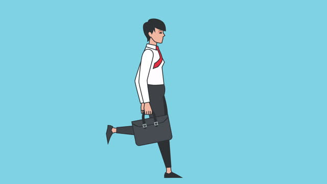 Cartoon Business Woman Character Running Cycle with Briefcase Loop Animation Isolated with Luma Matte