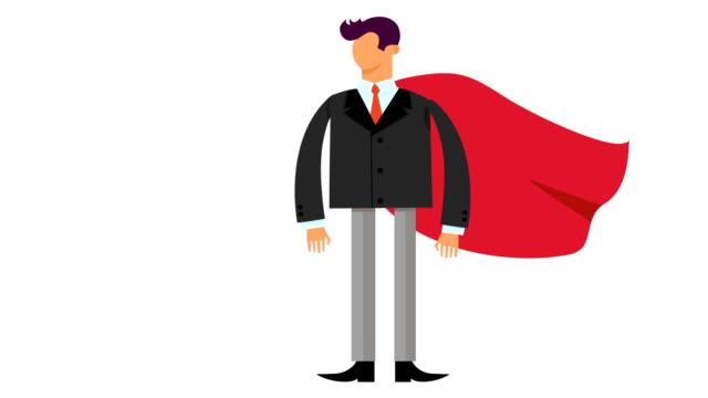 cartoon affärsman med superhjälte kappa animation och alpha channel - superhjälte isolated bildbanksvideor och videomaterial från bakom kulisserna