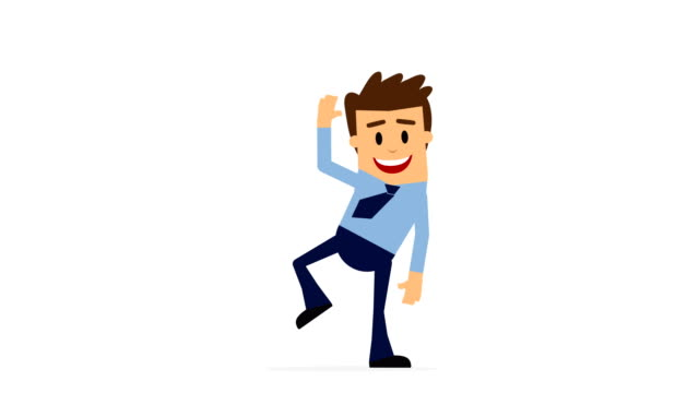 Cartoon Character Businessman  jumping excited dancing, 4K Loopable, Alpha channel.