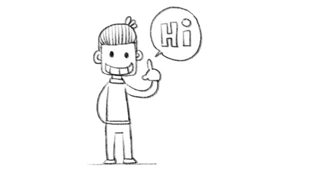 Cartoon character hand drawing video