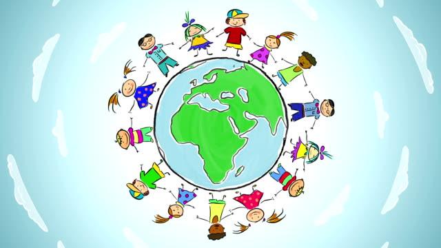 Cartoon: Children dance around the world video