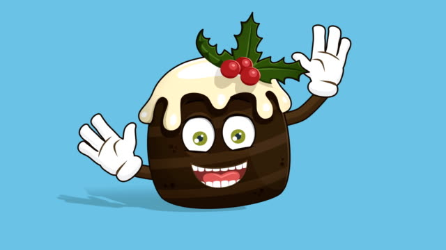 vídeos de stock e filmes b-roll de cartoon christmas cake happy rejoice with face animation alpha matte - christmas cake