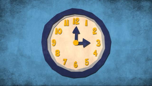 Cartoon clock spining video