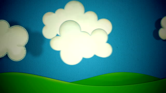 Cartoon Clouds fabric made with stitches on blue background with grass, sun and rainbow, different positions and transitions from one scene to another.