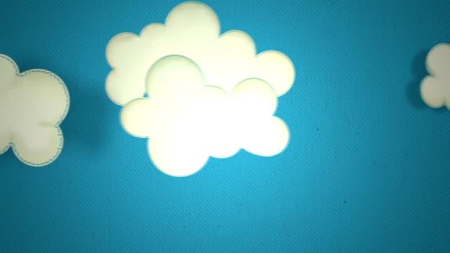 カットイラスト、雲のファブリックで作られたステッチの背景に青い空と太陽、レインボー - ふわふわ点の映像素材/bロール
