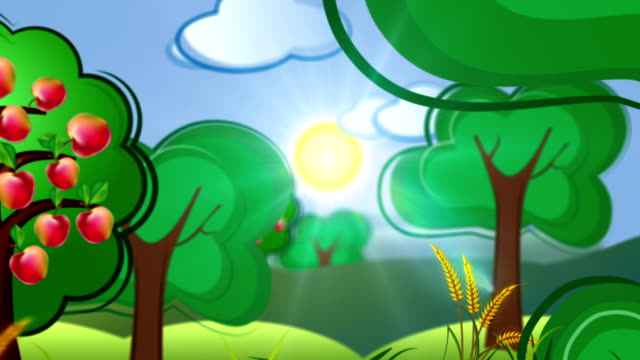 cartoon concept background with country side and building city video