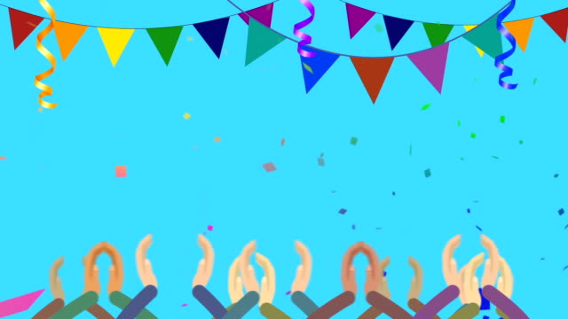 Cartoon Crowds Clapping In Party With Confetti video