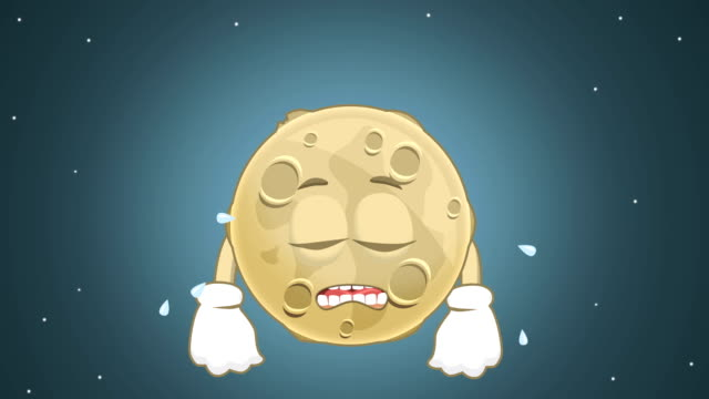 Cartoon Cute Moon Cry with Face Animation with Alpha Matte video