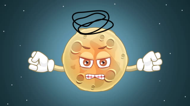 Cartoon Cute Moon Evil with Face Animation with Alpha Matte video