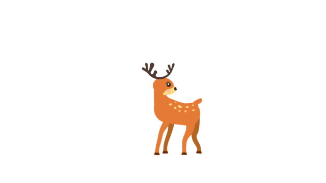 vídeos y material grabado en eventos de stock de ciervos dibujos animados poca animación con mate de luminancia opcional. mate luma alfa incluido. 4k video - reno mamífero