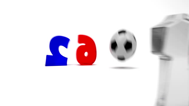 Cartoon Digits And Soccer Ball Assemble In Logo Of Euro 2016 France Football Championship