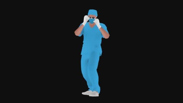 マスクを使用して漫画ドクターはコロナウイルス(covid-19、2019-ncov)または何か他のアニメーションをパンチしています - 拳 イラスト点の映像素材/bロール