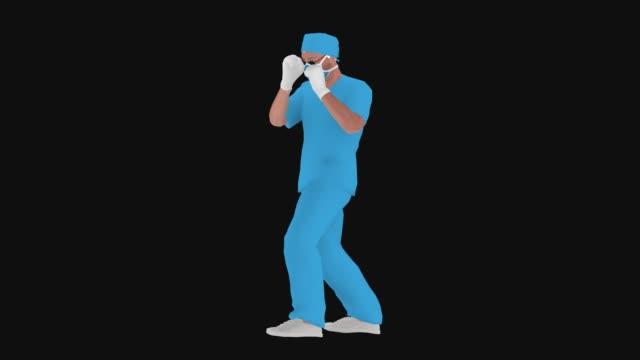 Cartoon Doctor mit Maske schlägt Coronavirus (covid-19, 2019-ncov) oder etwas anderes Animation – Video