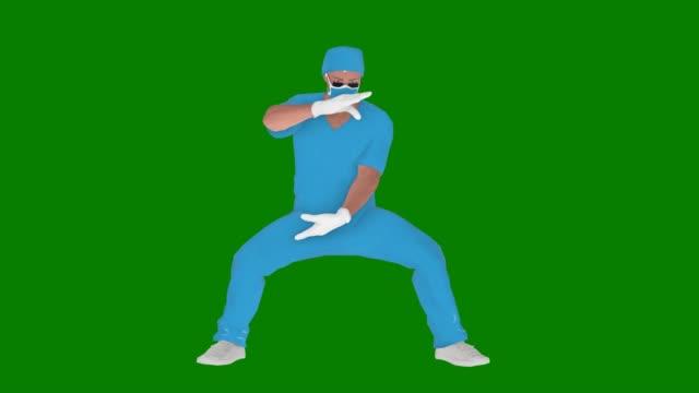 マスクを使用して漫画の医師は、グリーンスクリーン上のアニメーションをリラックスしています - 拳 イラスト点の映像素材/bロール