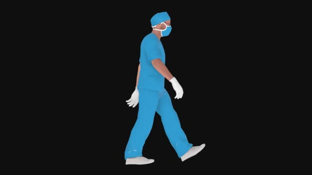 Cartoon-Arzt mit Maske ist zu Fuß Animation – Video