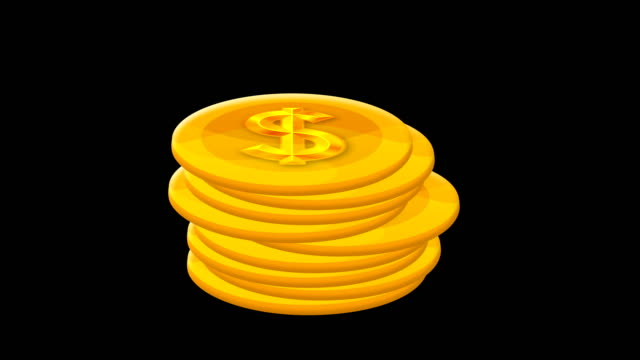 Cartoon Dollar Coin Counting Isolated - Alpha Channel