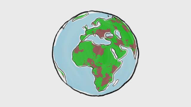 cartoon earth globe being covered by coronavirus epidemic - państwo lokalizacja geograficzna filmów i materiałów b-roll