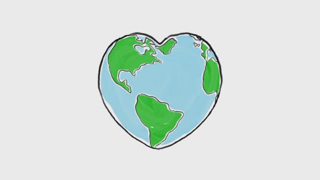 Cartoon earth globe deforms to heart shape