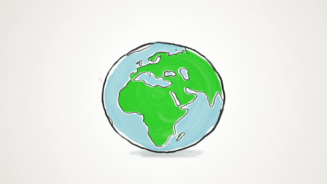 Cartoon Earth globe spinning and jumping video