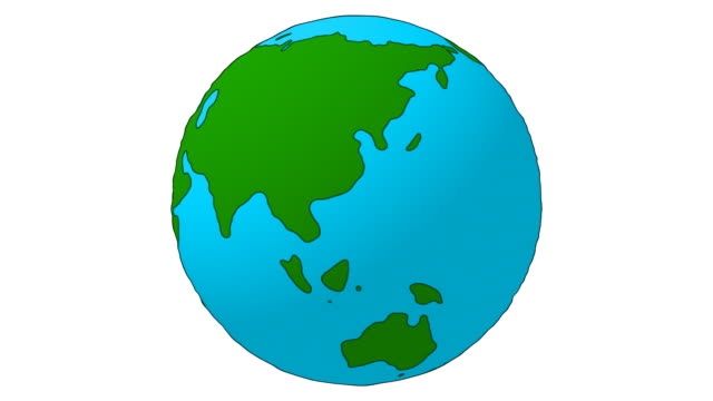 Cartoon Earth Globe spinning - loopable, isolated video