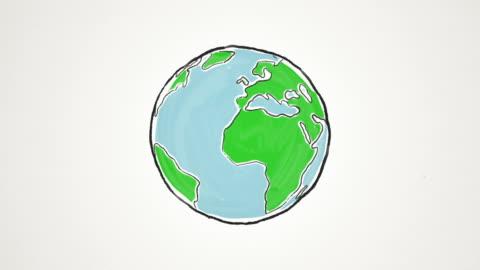fumetto di terra globo filatura, ad anello - animazione video stock e b–roll