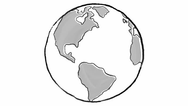cartoon earth globe spinning - набросок стоковые видео и кадры b-roll