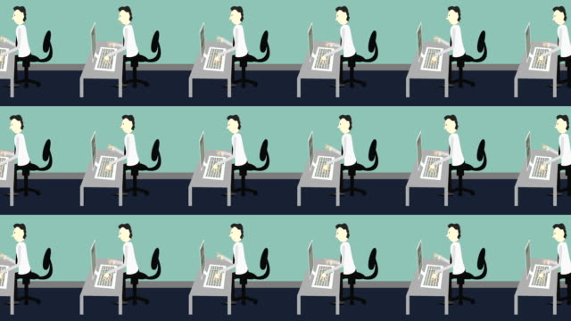 vídeos y material grabado en eventos de stock de dibujos animados empleados escribiendo en computadoras en una oficina - cube