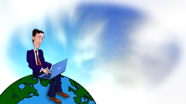 Cartoon Executive typing with laptop on the world video
