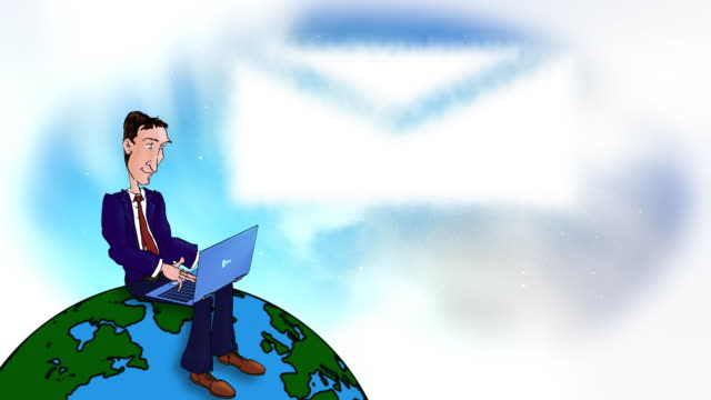 Cartoon executive using laptop on the world video