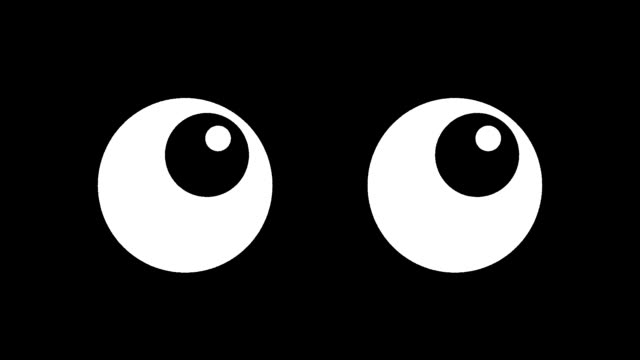 cartoon eyes blinking over black background - battere le palpebre video stock e b–roll