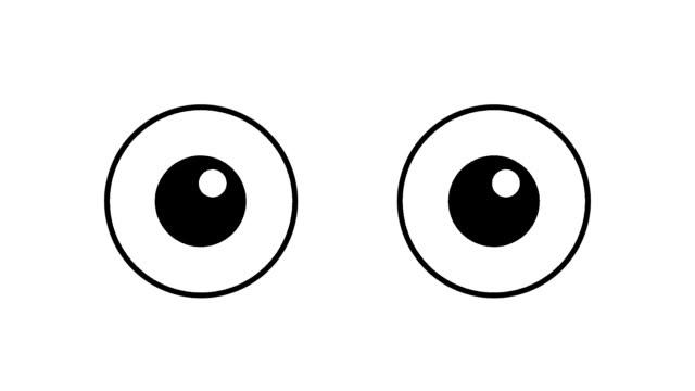 vídeos de stock e filmes b-roll de cartoon eyes blinking over white background - piscar